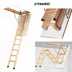 Imagén: Дървена таванска стълба LWK Komfort - 70 х 94 см, h 280 см, термоизолиран капак