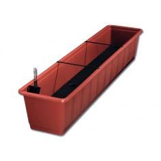 Imagén: Балконско сандъче за цветя - 100 см, цвят теракота, с напоителна система
