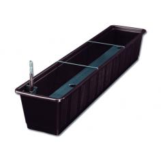 Imagén: Балконско сандъче за цветя, 100 см, кафяво, с напоителна система
