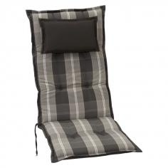 Възглавница за стол с висока облегалка сиво каре - 120x52x8 см