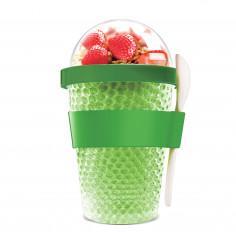 """Двустенна охлаждаща чаша с прибор """"CHILL YO 2 GO"""" - цвят зелен - ASOBU"""
