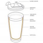 """Двустенна термо чаша с вакуумна изолация """"GLADIATOR"""" - 600 мл - цвят сребрист - ASOBU"""