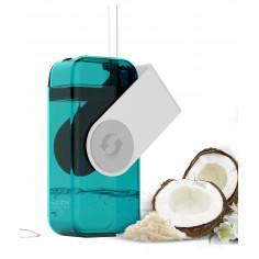 """Кутия за течности от Тритан със сламка """"JUICY"""" - 290 мл - цвят бял/син - ASOBU"""