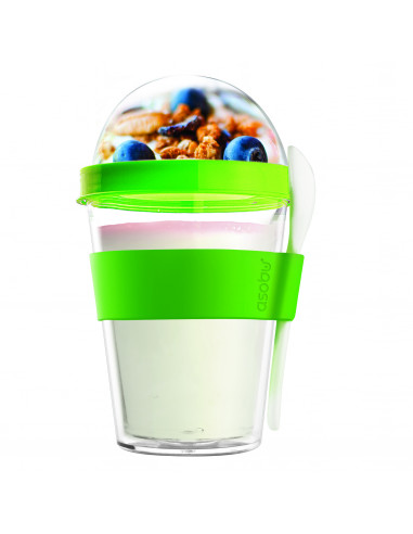 """Двустенна чаша с лъжичка""""YO 2 GO"""" - цвят зелен - ASOBU"""