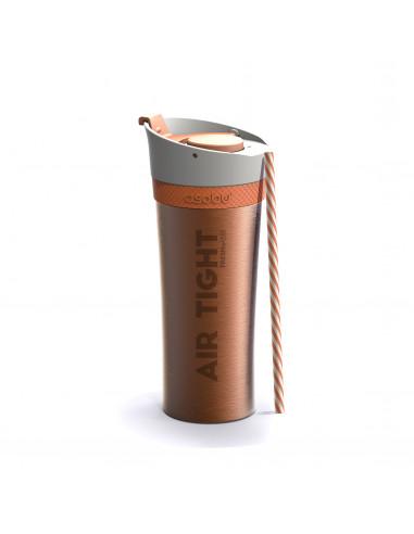 """Двустенна термо чаша """"FRESH N GO"""" с вакуумна изолация и система AIR PUMP - 500 мл - цвят оранжев - ASOBU"""
