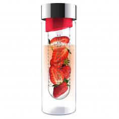 """Стъклена бутилка с инфузер """"FLAVOUR IT"""" - 480 мл - цвят червен/сребрист - ASOBU"""