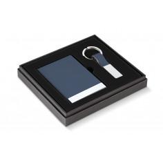 """Бизнес подарък """"TODD"""" от 2 части - визитник и ключодържател - син цвят -  Philippi"""