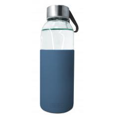 Стъклена бутилка със силиконов протектор - 400 мл. - синя - Vin bouquet