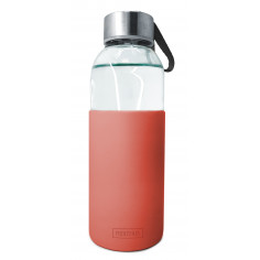 Стъклена бутилка със силиконов протектор - 400 мл. - червена - Vin bouquet