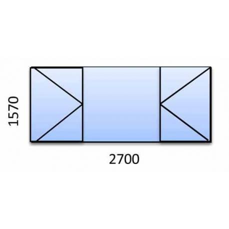 PVC прозорец 1570-2700 мм. 5 камерна бяла