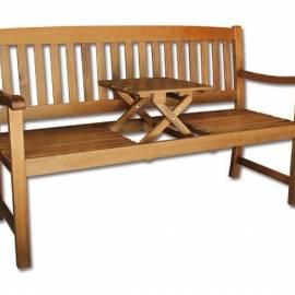 Дървена пейка 150 см, двуместна с масичка