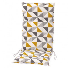 Възглавница за стол - Жълта/бежова/сива, 117x49x6 cм