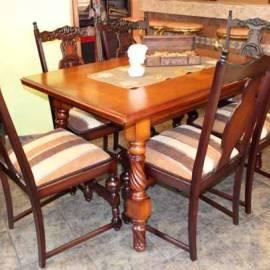 Масивна маса със 6 стола 140x90