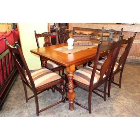 Масивна маса със 6 стола