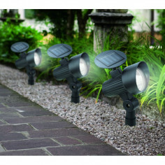 Соларна лампа - LED 3 бр. комплект черно