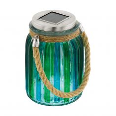 Соларна лампа - LED в синьо-зелен цвят