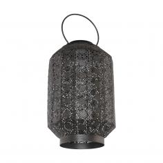 Соларна лампа - LED висящ фенер сребро-антик