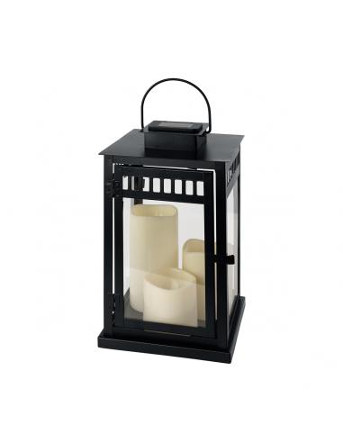 Соларна лампа - LED, фенер в черно с 3 бр. свещи