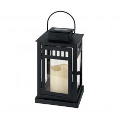 Соларна лампа - LED, фенер в черно с 1 бр. свещ