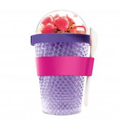 """Двустенна охлаждаща чаша с прибор """"CHILL YO 2 GO"""" - цвят лилав - ASOBU"""