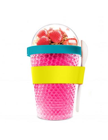 """Двустенна охлаждаща чаша с прибор """"CHILL YO 2 GO"""" - цвят розов - ASOBU"""