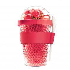 """Двустенна охлаждаща чаша с прибор """"CHILL YO 2 GO"""" - цвят червен - ASOBU"""