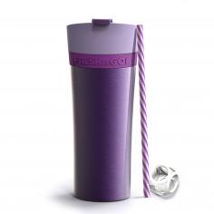 """Двустенна термо чаша """"FRESH N GO"""" с вакуумна изолация и система AIR PUMP - 500 мл - цвят лилав - ASOBU"""