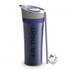 """Двустенна термо чаша """"FRESH N GO"""" с вакуумна изолация и система AIR PUMP - 500 мл - цвят син - ASOBU"""