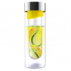 """Стъклена бутилка с инфузер """"FLAVOUR IT"""" - 480 мл - цвят жълта/сребриста - ASOBU"""
