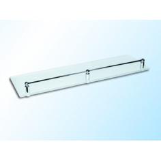 Стъклена полица с борд, прозрачна, 400х120х6 мм