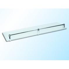 Стъклена полица с борд, прозрачна, 500х120х6 мм