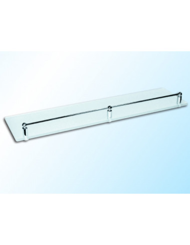 Стъклена полица с борд, прозрачна, 600х120х6 мм