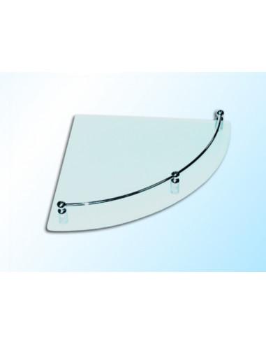 Ъглова стъклена полица с борд, матирана, 250х250х6 мм