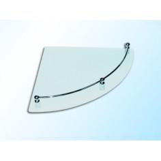 Ъглова стъклена полица с борд, опушена