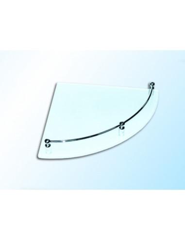 Ъглова стъклена полица с борд, прозрачна