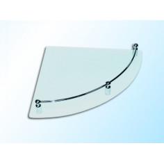 Ъглова стъклена полица с борд, прозрачна, 250х250х6 мм