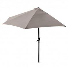 Ъглов чадър за балкон със стойка и манивела - полукръг, светло кафяв