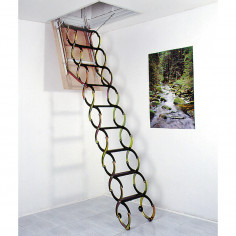 Imagén: Метална таванска стълба LUSSO - 90 X 50 см, h-3.2м, тип хармоника, талашитен капак