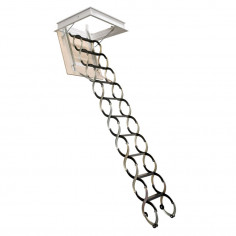Imagén: Метална таванска стълба LUSSO - 80 X 50 см, h-3.2м, тип хармоника, талашитен капак
