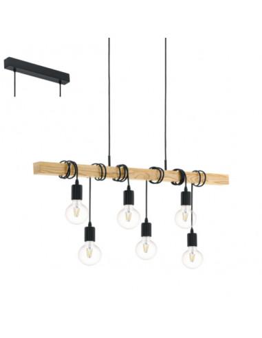 Пендел - висяща лампа 6хE27 дърво / винтидж