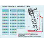 Размери на метални сгъваеми тавански стълби с талашитен капак