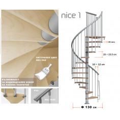 Интериорна вита стълба NICE 1.2, натурални стъпала, нелакирани стъпала, диаметър - Ø: 130 см