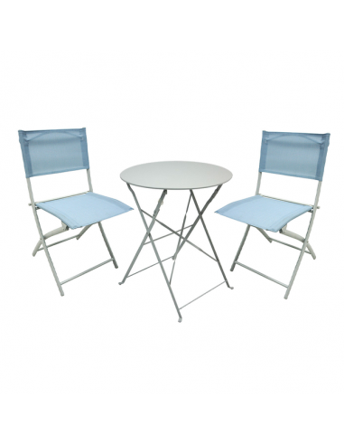 Сгъваем комплект за балкон, маса и 2 текстилни стола - сини