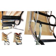 Imagén: Метална таванска стълба - 70 X 60 см, LUSSO, h-3.2м, тип хармоника, талашитен капак