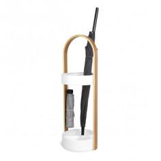 """Imagén: Поставка за чадъри """"HUB"""" - цвят бяло / натурално дърво - umbra"""