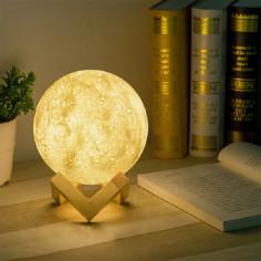 LED настолна нощна лампа - бяла, 18 см