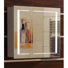 Огледален шкаф за баня, с LED осветление, PVC