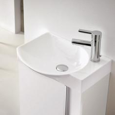 Мебел за баня Elegance, бял, комплект с огледало и LED осветление