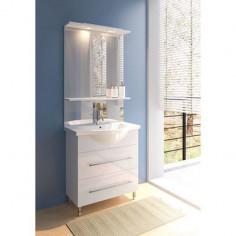 Мебел за баня Volo 2.0, 86 см, бял - шкаф, умивалник, огледало с етажерка, LED осветление