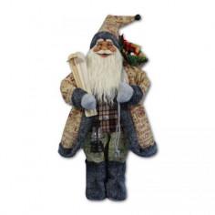 Дядо Коледа с кафяво палто и ски - 46 см